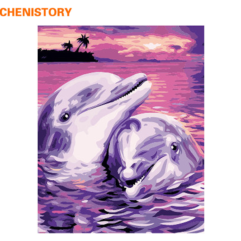 Dolphin Lover - Easy DIY Paint by Numbers Kits - OwlCube - Diamond Painting by Numbers