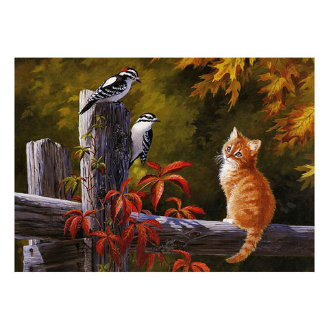 Cat and Birds - Easy 3D DIY Diamond Painting Kits - OwlCube Canvas Wall Art - OwlCube - Diamond Painting by Numbers