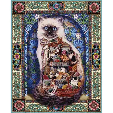 DIY Diamond Painting Cross Stitch Flowers 5D Needlework Mosaic Full Square Drill Icon Diamond Embroidery Cat Decor Painting For Christmas, Birthday Gift