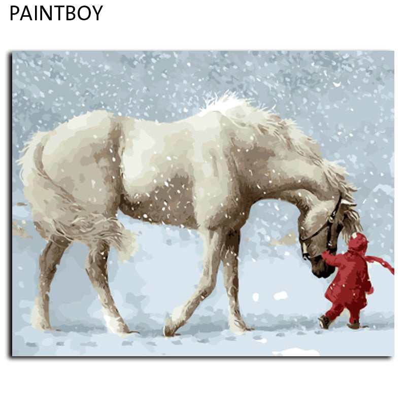 White Horse In Winter - Easy DIY Paint by Numbers Kits - OwlCube - Canvas Wall Art