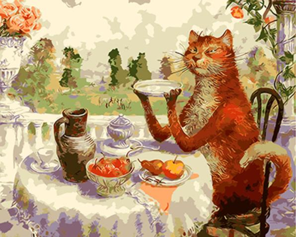 Meal of Cat in Cat World by Vladimir Rumyantsev - Easy DIY Paint by Numbers Kits OwlCube Canvas Wall Art - OwlCube - Canvas Wall Art