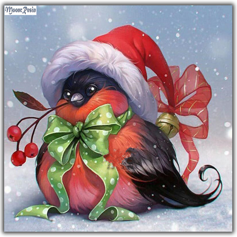 Happy Holiday with Christmas Fun Bird - Easy Diamond Painting Kit - OwlCube - Canvas Wall Art
