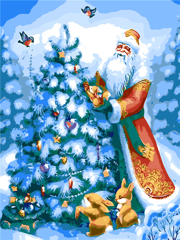 Santa Claus and Christmas Tree - Easy DIY Paint by Numbers Kits - OwlCube Canvas Wall Art - OwlCube - Canvas Wall Art