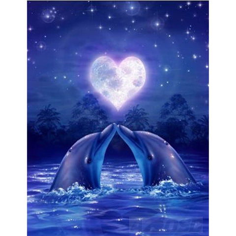 Love Dolphins - Easy DIY Diamond Painting Kits - OwlCube - Canvas Wall Art