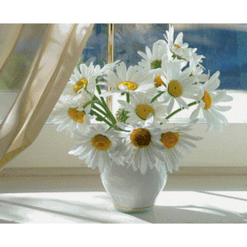 White Daisies - Easy DIY Diamond Painting Kits - OwlCube - Canvas Wall Art