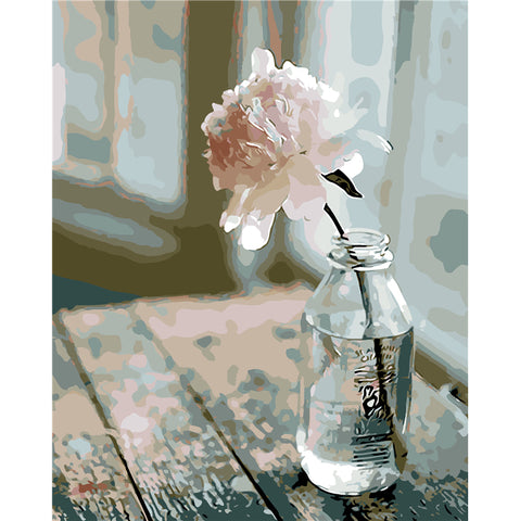 Glass Flower Bottle - Easy DIY Paint by Numbers Kits - OwlCube Canvas Wall Art - OwlCube - Canvas Wall Art