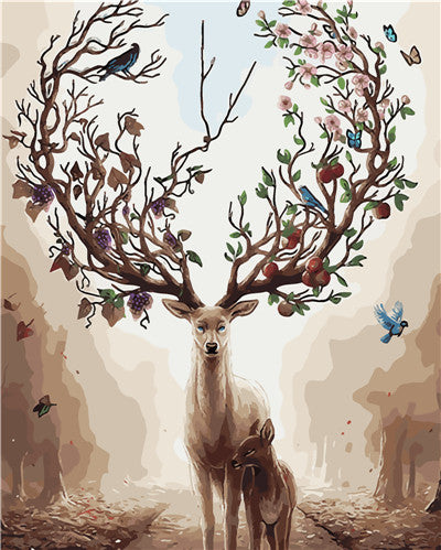 Deer Tree - Easy DIY Paint by Numbers Kits - OwlCube - Diamond Painting by Numbers