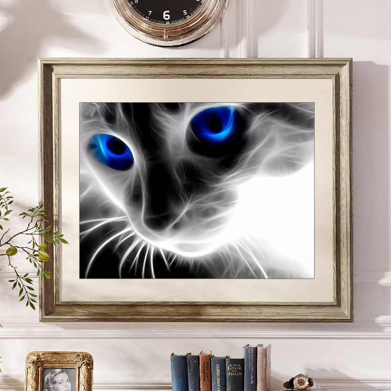 Blue Eyes Cat - Easy DIY Diamond Painting Kits - OwlCube Canvas Wall Art - OwlCube - Canvas Wall Art
