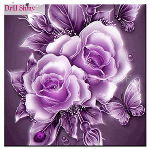 Flowers Purple Rose - Easy DIY Diamond Painting Kits - OwlCube - Diamond Painting by Numbers