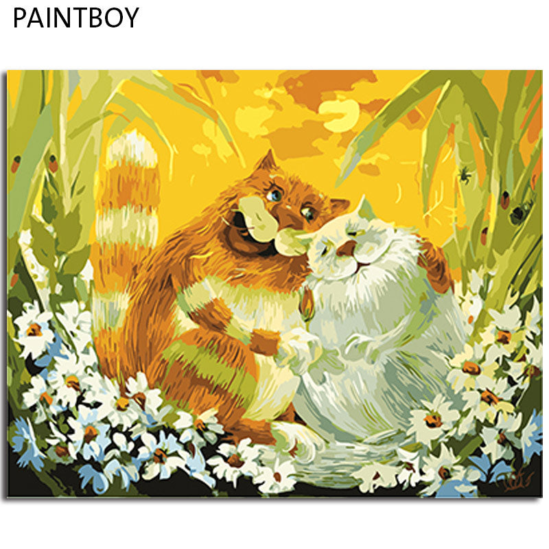 Cat Love - Easy DIY Paint by Numbers Kits - OwlCube - Diamond Painting by Numbers