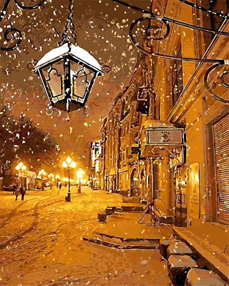 Snow Winter Light of the Town - Easy DIY Paint by Numbers Kits - OwlCube Canvas Wall Art - OwlCube - Canvas Wall Art