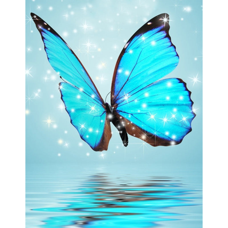 Blue Butterfly - Easy DIY Diamond Painting Kits - OwlCube - Diamond Painting by Numbers