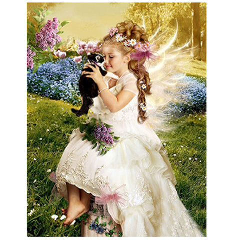 A Beautiful Angel with a Kitten - Easy 5D DIY Diamond Painting Kits - OwlCube Canvas Wall Art - owlcube.com