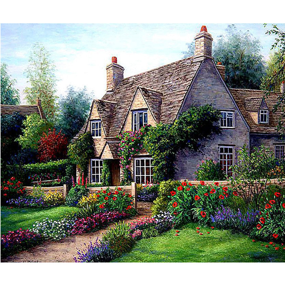 Landscape Garden Cottage - Easy Diamond Painting Kit