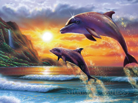 Dolphin Lovers - Easy DIY Diamond Painting Kits - OwlCube Canvas Wall Art - OwlCube - Diamond Painting by Numbers