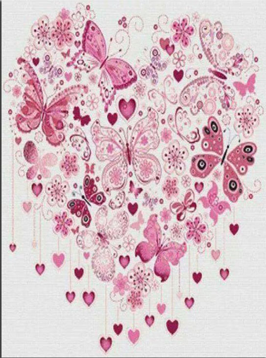 Butterfly Heart - Easy DIY Diamond Painting Kits - OwlCube Canvas Wall Art - OwlCube - Diamond Painting by Numbers