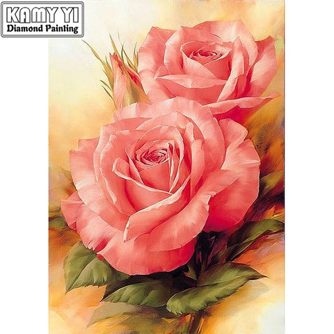 "Full Drill Square Diamond 5D DIY Diamond Painting""Pink flower""Diamond Embroidery Cross Stitch Wonderful Gift for Birthday Thanksgiving Christmas Gift for Women Men and Children"