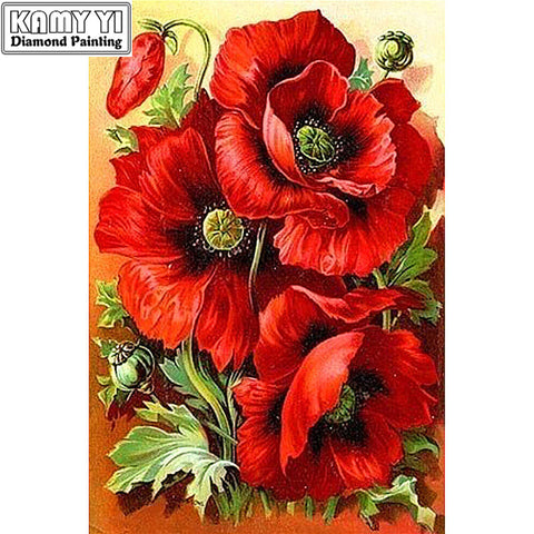Red Flowers - Easy DIY Diamond Painting Kits - OwlCube - Canvas Wall Art
