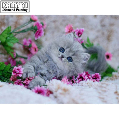5D DIY Diamond mosaic diamond embroidery cute Cat and pink flowers embroidered Cross Stitch Home decoration Wonderful Gift for Birthday Thanksgiving Christmas Gift for Women Men and Children - OwlCube - Diamond Painting by Numbers