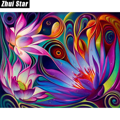 "Zhui Star Full Square Diamond 5D DIY Diamond Painting ""Flowers"" 3D Embroidery Cross Stitch Mosaic Painting Wonderful Gift for Birthday Thanksgiving Christmas Gift for Women Men and Children"