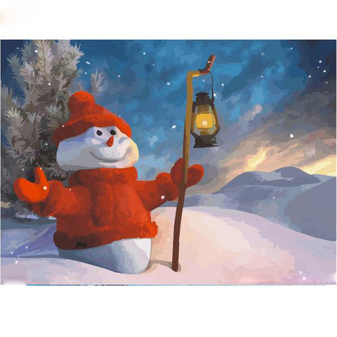 Christmas Snowman - Easy DIY Paint by Numbers Kits - OwlCube Canvas Wall Art - OwlCube - Diamond Painting by Numbers