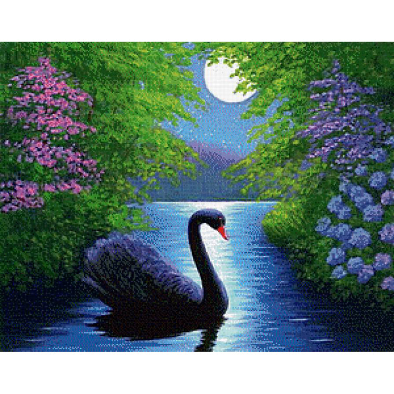Swan in the Water - Easy DIY Diamond Painting Kits - OwlCube - Canvas Wall Art