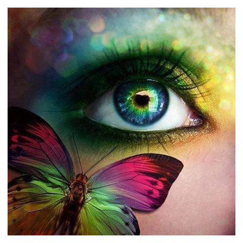 Butterfly and Eye - Easy DIY Diamond Painting Kits - OwlCube - Canvas Wall Art