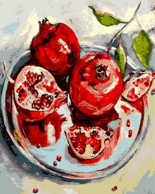 Pomegranate Fruit - Easy DIY Paint by Numbers Kits - OwlCube - Canvas Wall Art
