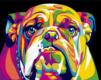 Abstract Bulldog - Easy DIY Paint by Numbers Kits - OwlCube - Diamond Painting by Numbers