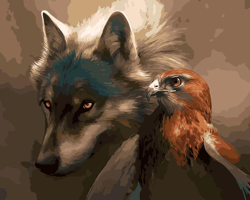 Wolf and Eagle - Easy DIY Paint by Numbers Kits - OwlCube - Canvas Wall Art