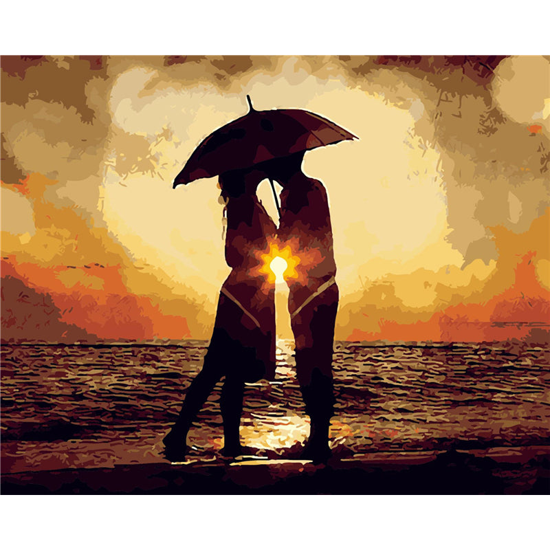 Sunset Couple - Easy DIY Paint by Numbers Kits - OwlCube - Canvas Wall Art