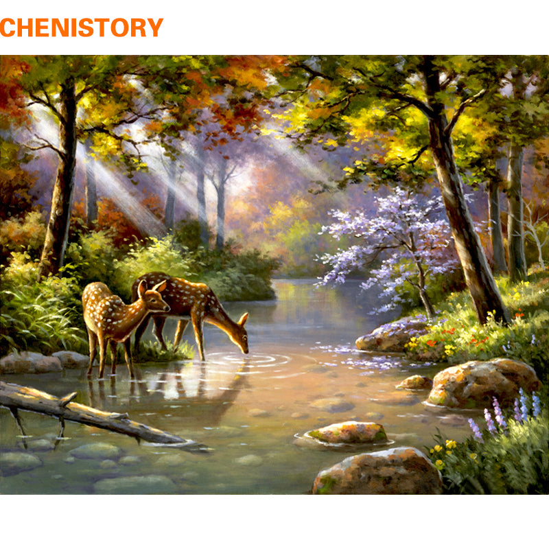 Deer Forest - Easy DIY Paint by Numbers Kits - OwlCube - Diamond Painting by Numbers