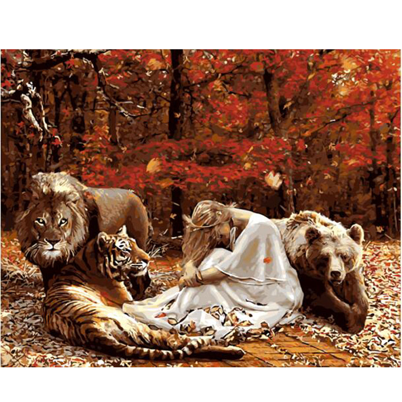Girl with Lion, Tiger, Bear - Easy DIY Paint by Numbers Kits - OwlCube - Canvas Wall Art