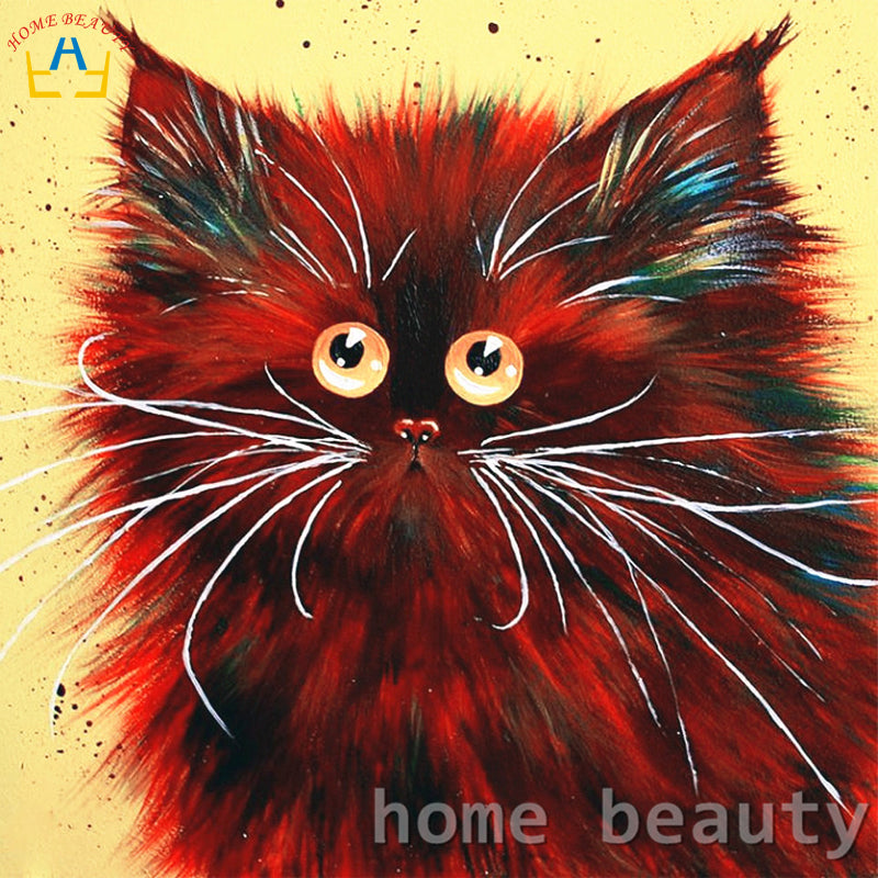 Red Cat - Easy DIY Paint by Numbers Kits - OwlCube - Canvas Wall Art