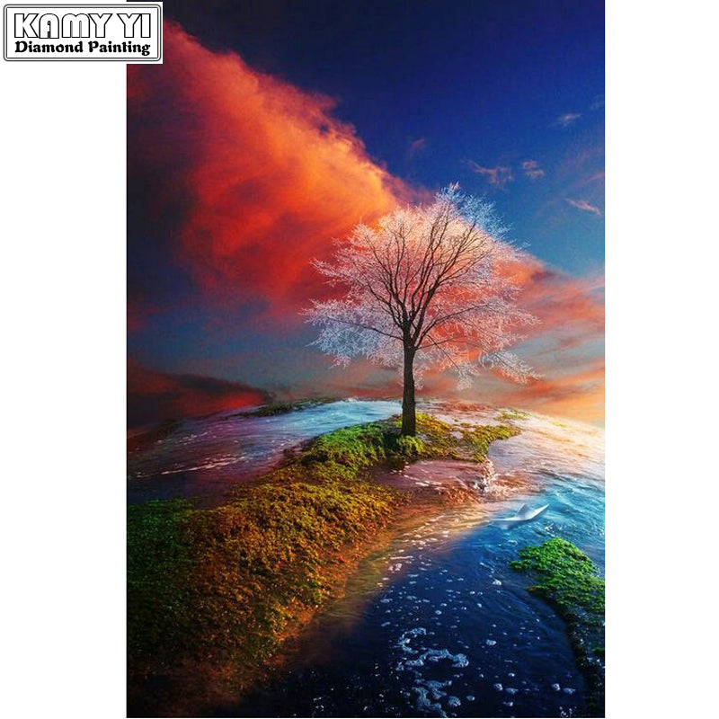 Scenery Of A Tree - Easy DIY Diamond Painting Kits - OwlCube - Canvas Wall Art