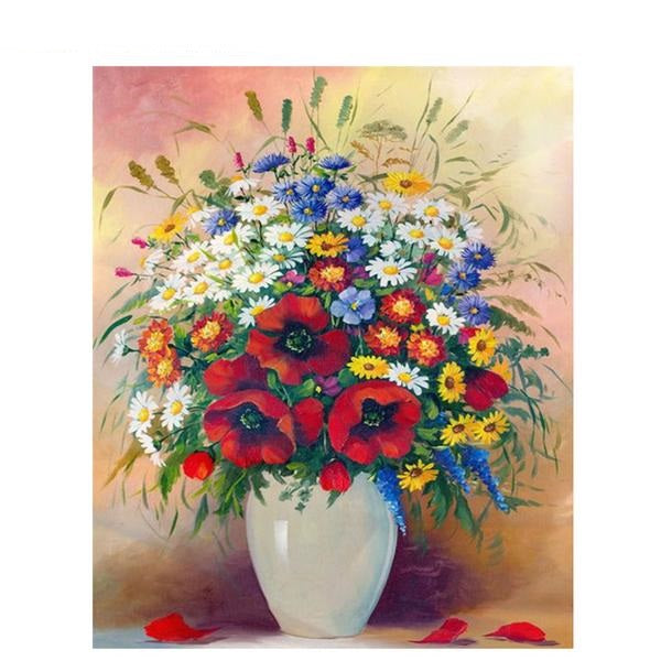 Colorful Flower Vase - Easy DIY Paint by Numbers Kits - OwlCube - Canvas Wall Art