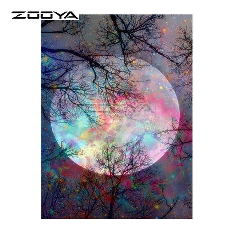 Forest Tree Color Moon - Easy DIY Diamond Painting Kits - OwlCube - Diamond Painting by Numbers