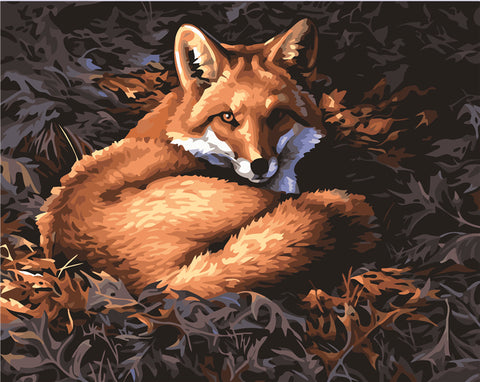 Fox and Leaf - Easy DIY Paint by Numbers Kits - OwlCube - Diamond Painting by Numbers