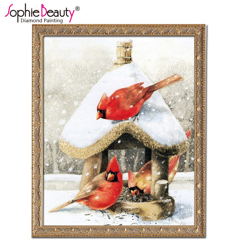 Bird In Winter - Easy DIY Diamond Painting Kits - OwlCube - Diamond Painting by Numbers