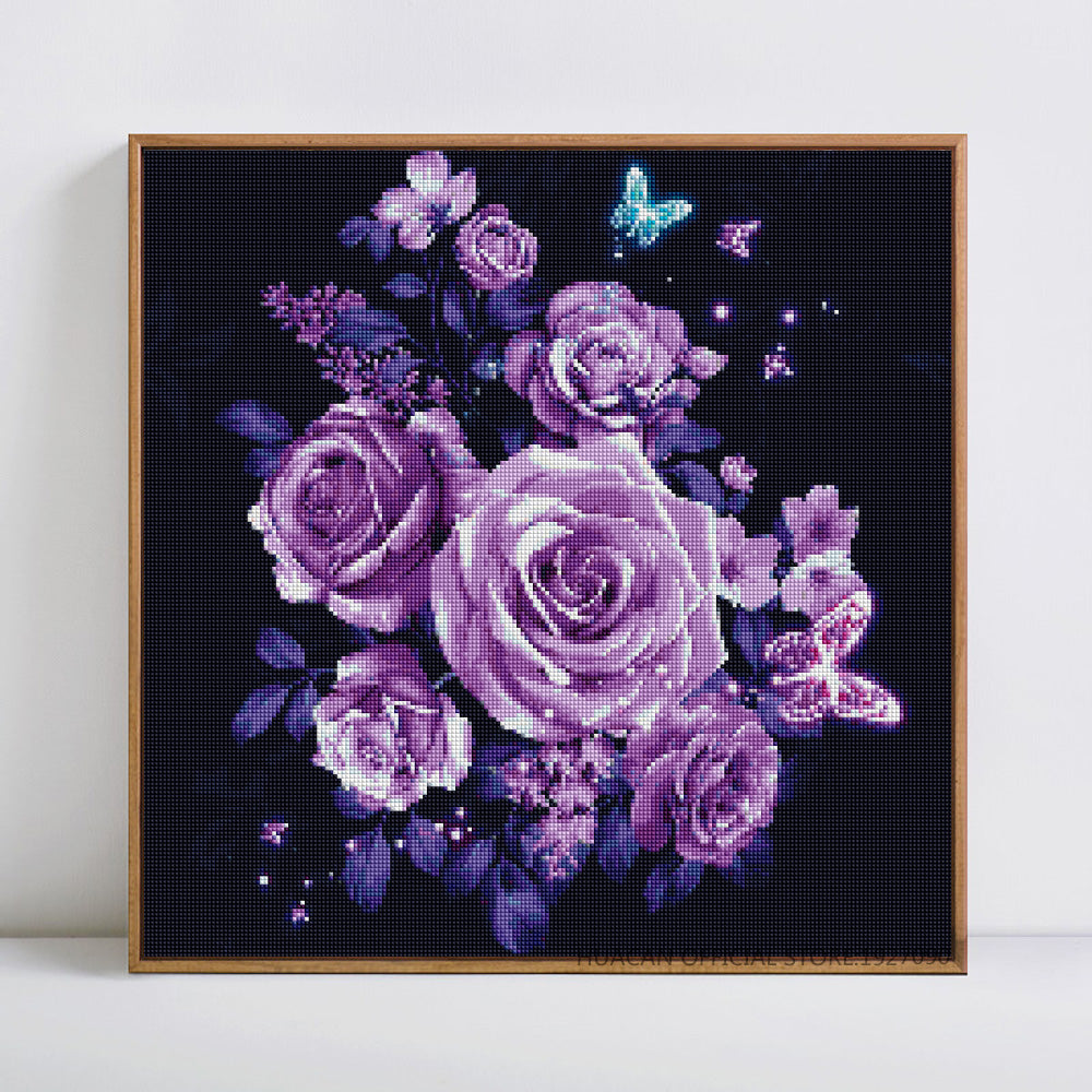 Violet Rose - Easy DIY Diamond Painting Kits - OwlCube - Canvas Wall Art