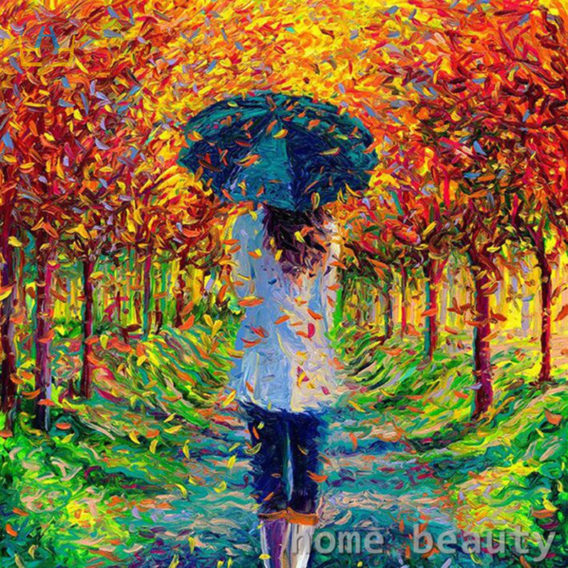 Girl Walk Under the Fallen Tree - Easy DIY Paint by Numbers Kits - OwlCube - Canvas Wall Art
