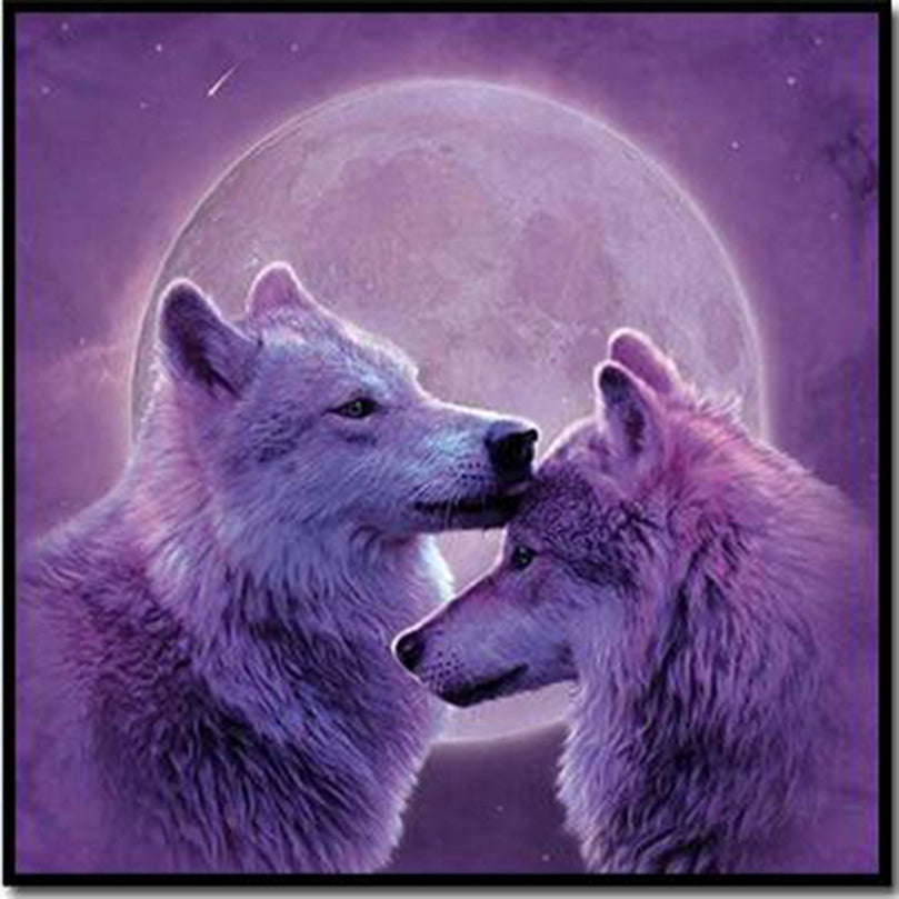 Purple Moon Wolf - Easy DIY Diamond Painting Kits - OwlCube - Canvas Wall Art