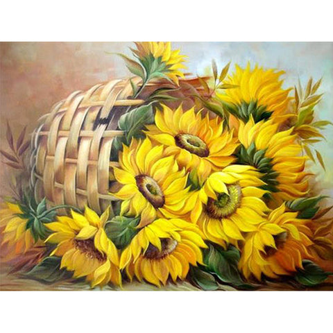 Sunflower Basket - Easy 5D DIY Diamond Painting Kits - OwlCube Canvas Wall Art - OwlCube - Canvas Wall Art