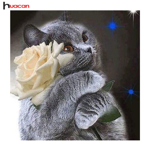 Huacan DIY Animal Diamond Painting Cross Stitch Full Square Diamond Embroidery Cat and Flower Mosaic Pictures of Rhinestones