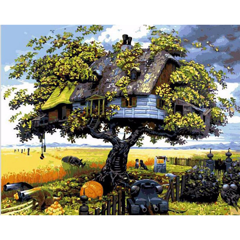 Anime Tree House - Easy DIY Paint by Numbers Kits - OwlCube - Diamond Painting by Numbers