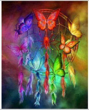 Dream catcher & Butterfly - Easy DIY Diamond Painting Kits - OwlCube - Canvas Wall Art