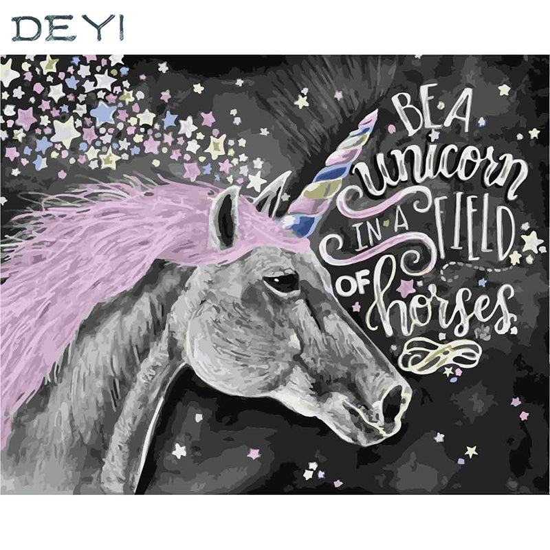 Be a Unicorn - Easy DIY Paint by Numbers Kits - OwlCube - Canvas Wall Art