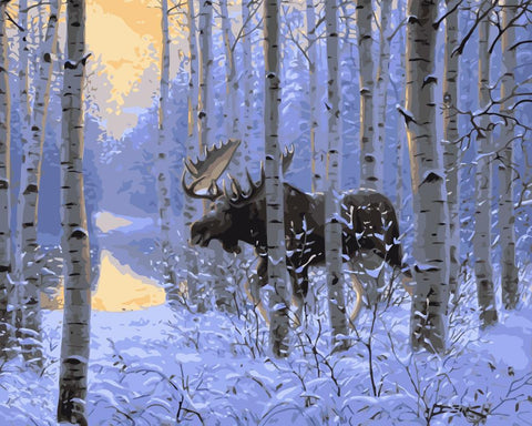 Winter Moose in Forest - Easy DIY Paint by Numbers Kits - OwlCube - Canvas Wall Art
