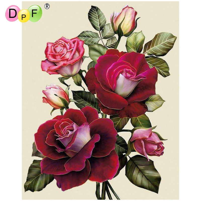 Red Rose Flowers - Easy DIY Diamond Painting Kits - OwlCube - Canvas Wall Art