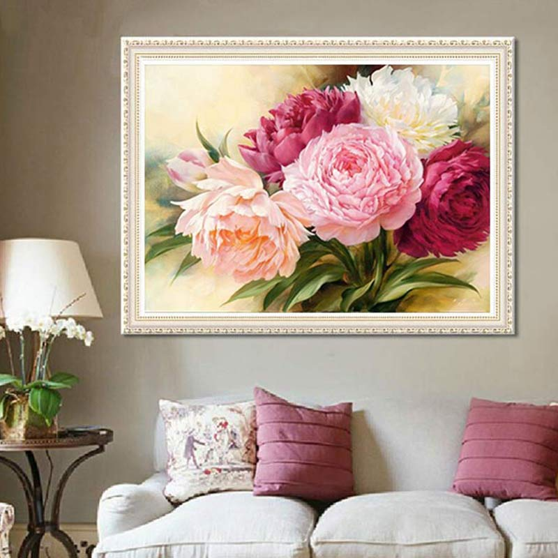 40*30cm 5D Full Diamonds Peony Flowers Embroidery Cross Stitch Kits Household Handmand DIY Decoration Crafts Material Package - OwlCube - Diamond Painting by Numbers